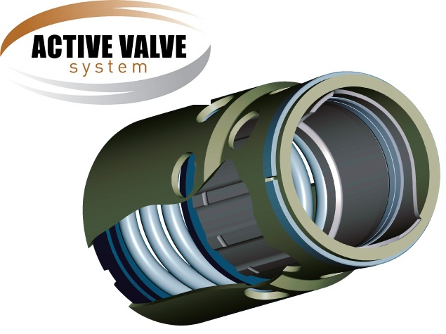 logo systemu Active Valve oraz widok zaworu